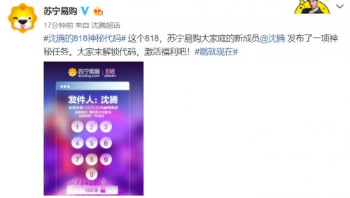 神秘代码引来众网友猜测电商文体委苏宁818又来搞事情?