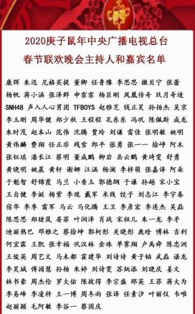 2020央视春晚拟邀嘉宾杨紫李现马化腾李玉刚上榜